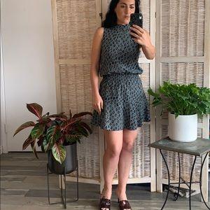 Mock neck smocked waist leopard print mini dress